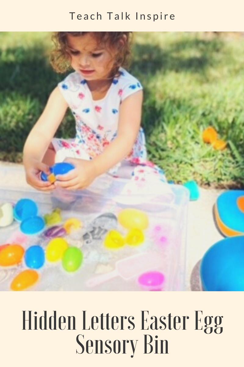 Hidden Letters Easter Egg Sensory Bin